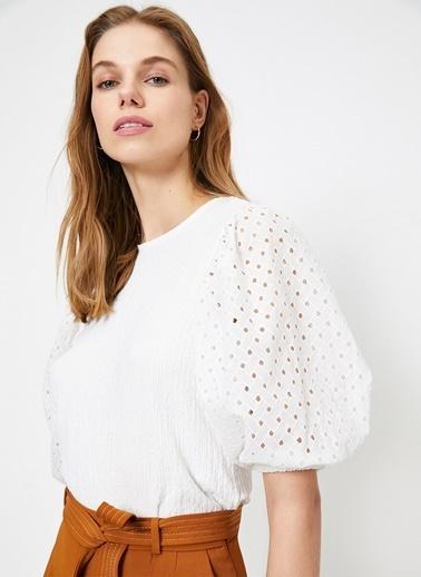 Koton Koton Balon Kollu Beyaz T-Shirt Ekru
